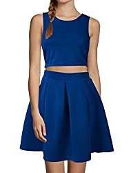 Women Sleeveless Zipper Back Cropped Tops w Pleated A Line Skirts Sets