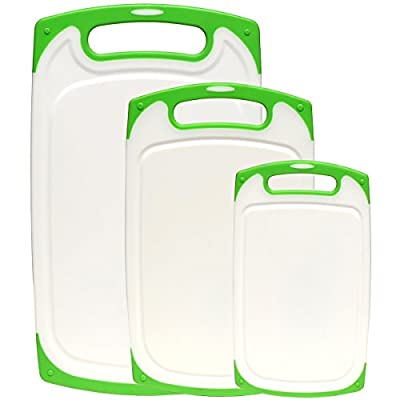 Dutis 3-Piece Dishwasher Safe Plastic Cutting Board Set with Non-Slip Feet and Deep Drip Juice Groove, White with Lime Green
