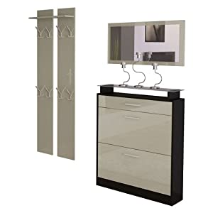 garderobenset garderobe loret mini in schwarz sandgrau hochglanz k che haushalt. Black Bedroom Furniture Sets. Home Design Ideas