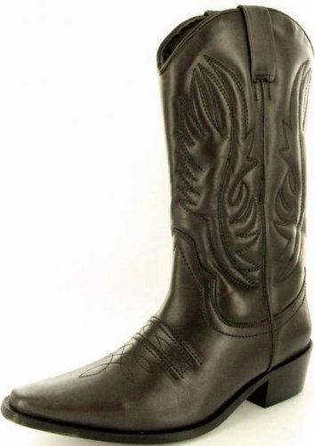 Mens Brown Long Leather Cowboy UKD Size 12
