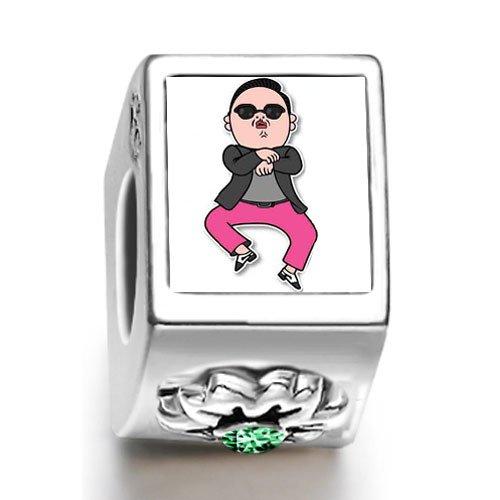 Buring Love Gangnam Style Guy May Birthstone Photo Flower Charm Beads