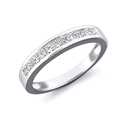 Brand New Princess Diamond Channel Set Haf Eternity Ring,9k White Gold