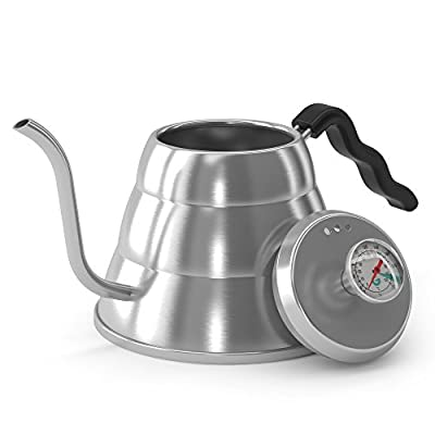 BEST Drip Coffee/Tea Gooseneck Kettle With BUILT-IN Thermometer by Coffee Gator - Premium Quality Stainless Steel Pour Over Kettle - Stop Scorching Your Beans - Make Perfect Hand Drip Coffee Every Time