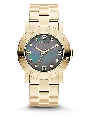 Marc By Marc Jacobs Mbm3273 Amy Gold Watch With Grey Mother Of Pearl Dial