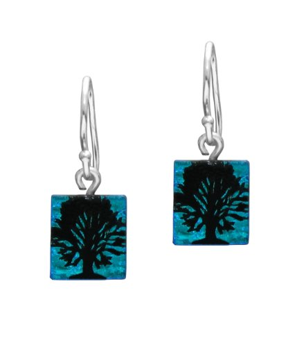 Sterling Silver Dichroic Glass Blue Tree of Life Pattern Rectangular Earrings
