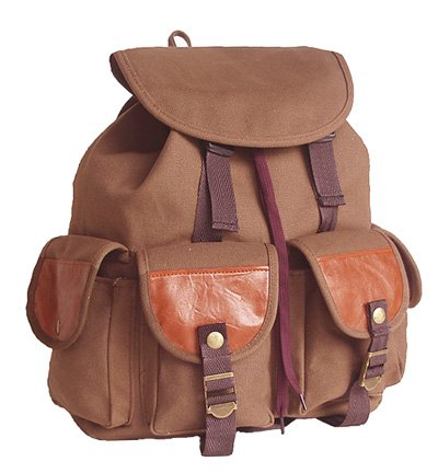 Military Inspired Stylish Backpack Canvas Day Pack Chocolate Brown
