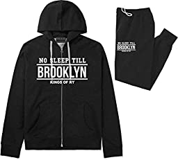 Kings Of NY No Sleep Till Brooklyn Mens Sweat Suit Hoodie Pants Black Large