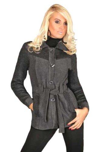 Damen Winterjacke Wolljacke grau m. Strick Blazer günstig kaufen
