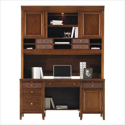 Buy Low Price Comfortable Stanley 712-6843 / 712-6845 Hudson Street Warm Cocoa 62″ W Computer File Desk with Hutch (B003OLT134)