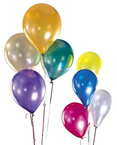 Assorted 12 Inches Metallic Helium Quality Latex Balloons - Pack of 100