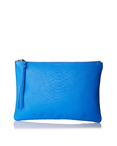 Possé Women's Sonia Embossed Pouch/Clutch, Cobalt Snake