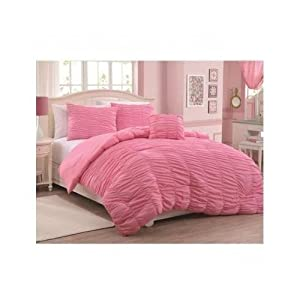 Twin Size Modern Ruched Teen Kids Girls Comforter Bedding Set with Shams and Pillow (TWIN, pink)