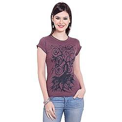 TUNTUK Women's Apple T-Shirt Maroon Cotton Top