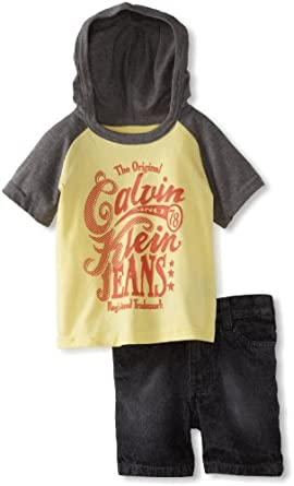 Calvin Klein Baby-Boys Infant Hooded Tee with Shorts, Gray/Yellow, 12 Months