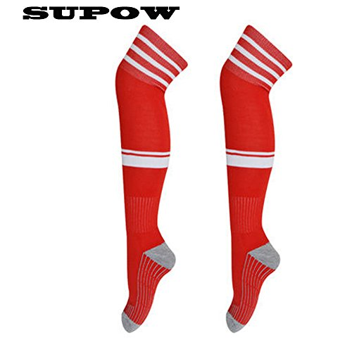 SUPOW(TM) New Unisex Football Sport Overknee Socks Stockings Soccer Baseball Basketball Over The Knee Ankle High Socks Athlete Ribbed Stripe Thigh High Thick Tube Hose Long Socks Hockey Rugby Men's Absorb Stockings (White Striped Red)