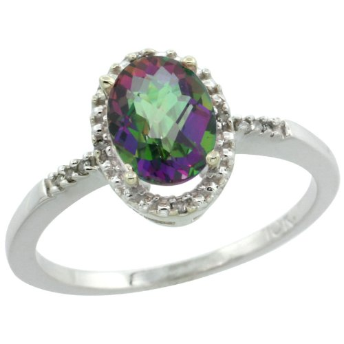 10k White Gold ( 8x6 mm ) Halo Engagement Mystic Topaz Ring w/ 0.033 Carat Brilliant Cut Diamonds & 1.35 Carats Oval Cut Stone, 3/8 in. (10mm) wide, size 5.5