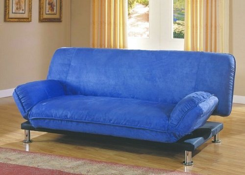 Cheap Contemporary Blue Microfiber Futon Sofa w Mattress