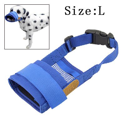 Jardin Pet Dog Anti Bark Chew Mesh Mask Muzzle, Large, Blue