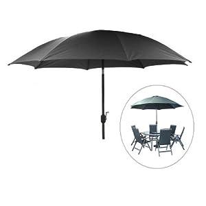 vito charcoal grey 3m aluminium garden parasol with crank garden outdoors. Black Bedroom Furniture Sets. Home Design Ideas