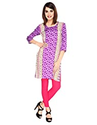 Fashion205 Purple Printed Cotton Rayon Short Kurti - B0102CYEY8