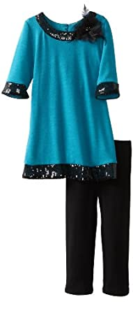Amy Byer Girls 2-6X Sequin Trim Legging Set, Blue, 4