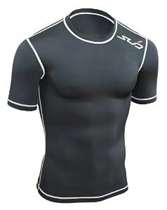 Sub Sports Herren Dual Kompressionsshirt Funktionswäsche Base Layer kurzarm, Schwarz, L