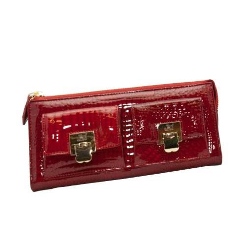 b0308e9a8a67 Jacky & Celine J11-012-025 Ladies' Lipstick Red Croc Embossed Zippered Large