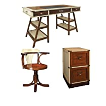 Hot Sale Navigator's Deskwith Purser's Chair and Campaign Filing Cabinet, Ivory and Honey - Office Nautical Furniture Kit, Solid Wood Desks with Chair and Filing Cabinet, Ivory and Honey - Working Desk with Chair and Filing Cabinet