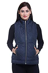 Trufit Sleeveless Solid Women's Navy Quilted Golden Zip Polyetser Bomber Polyfill jacket