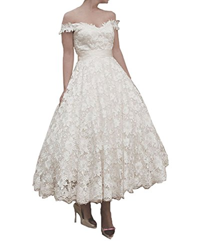 FNKS 1950s Vintage StyleTea Length Off Shoulder Straps Unique Wedding Dress Gowns 0