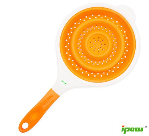 Ipow Magic Multi-purpose Collapsible Orange Silicone Kitchen Drain Food Fruit Vegetable Noodles Basket Colander Strainer with Handle-fits in Any Kitchen Space