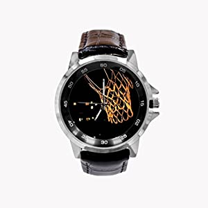 Basketball Court Pics Custom Black Leather Band Quartz Watch, Fry Arten Special Design