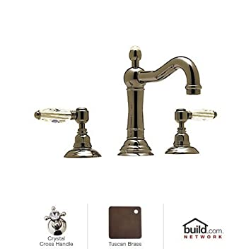 Rohl A1409XCTCB-2 9.17862Apc A1409Xc-2 Country Bath Widespread Bathroom Faucet with Swarovski Crystal Crystal, Tuscan Brass