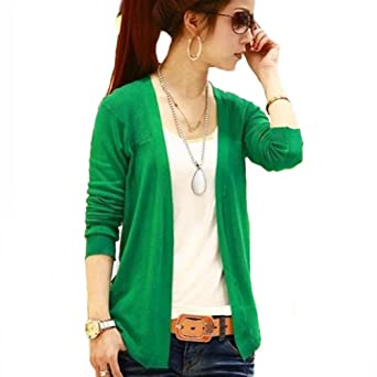 Beautiful Knitting Weaveing Women Lady Cardigan Sweater Long Sleeve Candy Colors (Green)