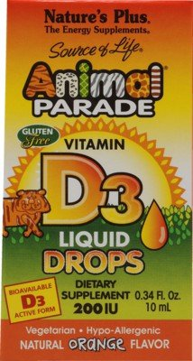Nature'S Plus - Source Of Life Animal Parade Vitamin D3 Liquid Drops Natural Orange Flavor 200 Iu - 0.34 Oz.