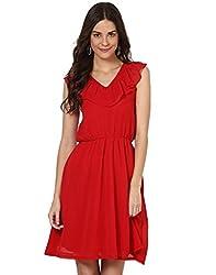 Besiva Sleeveless Ruffle Red Dress