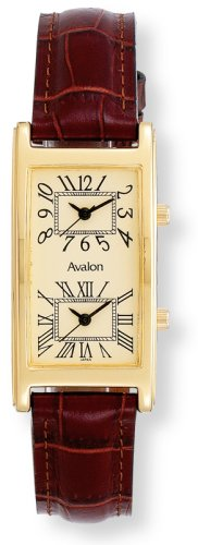Avalon Unisex Gold Tone World Traveler Dual Time Zone Strap Watch # 7090-1