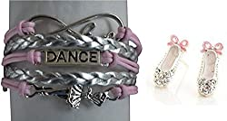 Girls Pink Dance Jewelry Set-Dance Bracelet & Dance Earrings, Perfect Gift For Dance Recitals, Dancers and Dance Teams by Infinity Collection