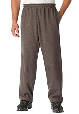 Kingsize Men's Big & Tall Fleece Open-Bottom Pants, Heather Charcoal Tall-L