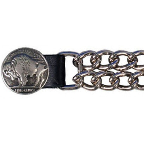 Bikers Shield 'Buffalo Nickel' Design Vest Extender with Double Chain Snap
