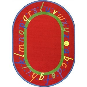 Joy Carpets Kid Essentials Early Childhood Oval AlphaScript Rug, Red, 7'8