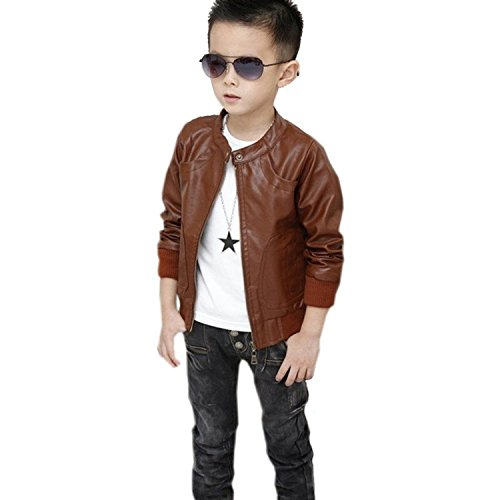[Boys' 50s Greaser PU Leather Zip-up Jacket Costume Brown 8T/150CM] (Greaser Outfit)