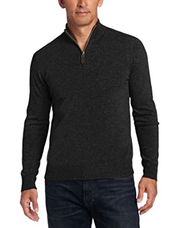 Williams Cashmere Men's 100% Cashmere Zip Mock Neck Sweater, Charcoal, Small