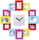 Photo Frame Clock (Multi-Coloured) - Add 12 Photos - Great Personalised Gift