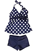 Two Color Polka Dots Tankini Sets Swimwear Plus Size