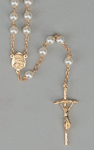 Wedding Rosary - 6mm Genuine Mother-Of-Pearl Beads - 18