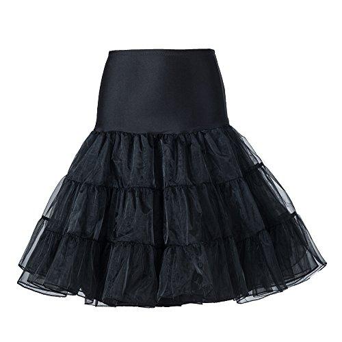 "Boolavard ® 50s 26"" Retro sottogonna battenti Vintage Petticoat Fancy Net Gonna Rockabilly Tutu (NERO) (L-XXL (48-56))"