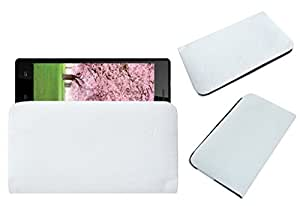 Acm Rich Leather Soft Case For Intex Aqua Desire Hd Mobile Handpouch Cover Carry White