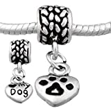 Love my Dog Dangle Charm Spacer Bead Pandora Troll Chamilia Biagi Bead Compatible