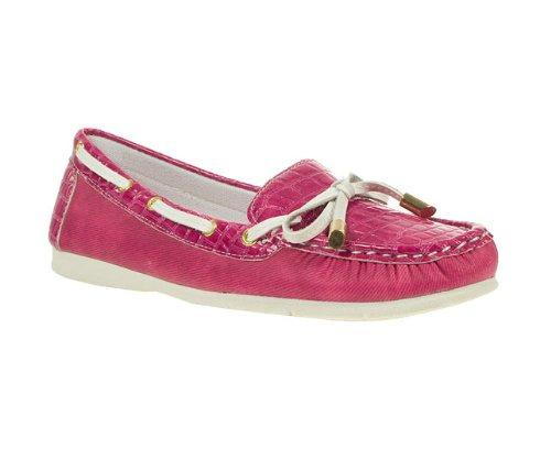 Lunar Womens Ladies Cerise Patent Bow Trim Boat Shoes
